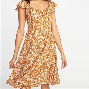 Old Navy yellow gold floral ruffle flutter dress